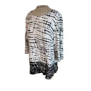 JM Collection Gauzy Top Shirt Blouse Black White